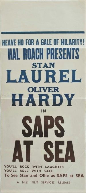 Laurel and Hardy Saps at Sea New Zealand Daybill film poster (2)