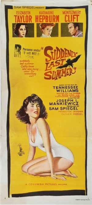 Suddenly Last Summer Australian daybill movie poster with Elizabeth Taylor, Joseph L. Mankiewicz, Katharine Hepburn, Montgomery Clift 1959