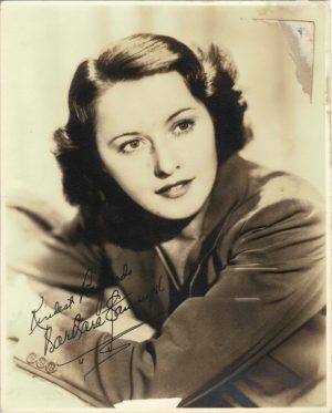 Barbara Stanwyck 1940's Portrait 8 x 10 with printed signature