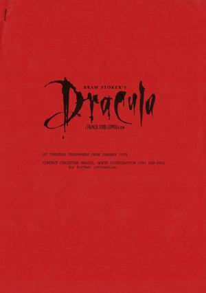 Dracula Production Notes Book 1992 Francis Ford Coppola