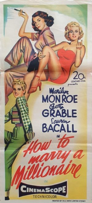 How To Marry A Millionaire Australian Daybill movie poster with Marilyn Monroe, Lauren Bacall and Betty Grable (1)