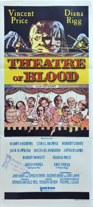 Theatre of Blood Australian Daybill Poster with Vincent Price and Diana Rigg
