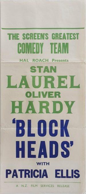 Laurel & Hardy Block Heads New Zealand daybill movie poster (39)