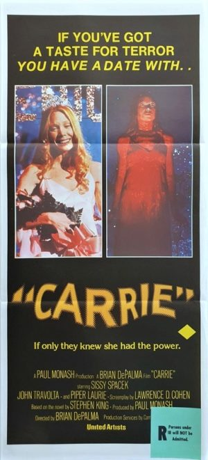 Carrie Australian Daybill movie poster by Stephen King (3)
