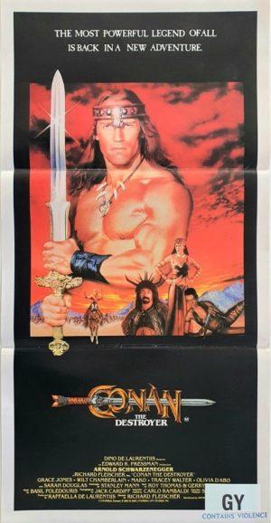 Conan The Destroyer Australian Daybill Movie Poster With Arnold Schwarzenegger (4)